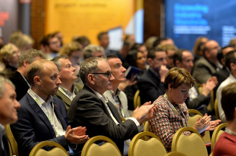 Attendee's watch the speakers onstage High Streets Development Conference. 30.10.19