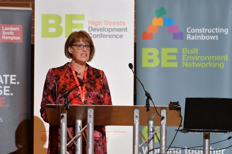Liz Lowe of Morris Property speaks at High Streets Development Conference. 30.10.19