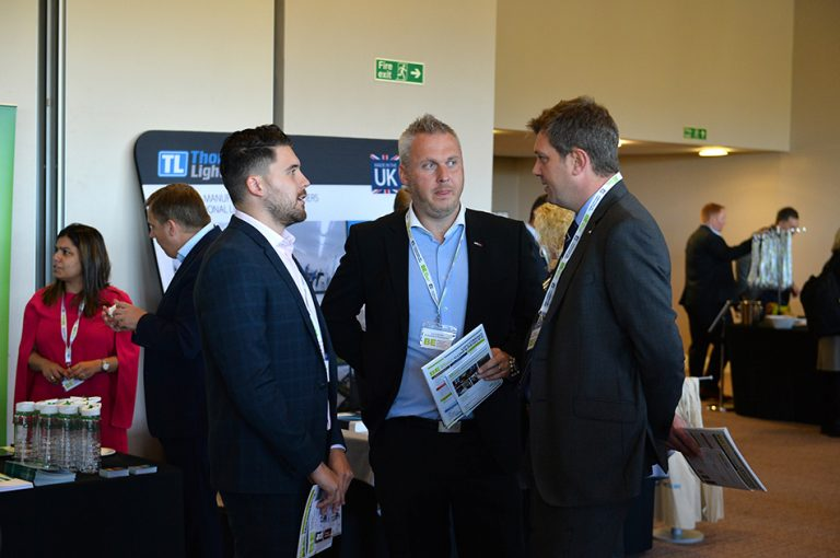 Attendee's discuss the day at Sheds and Logistics 2019