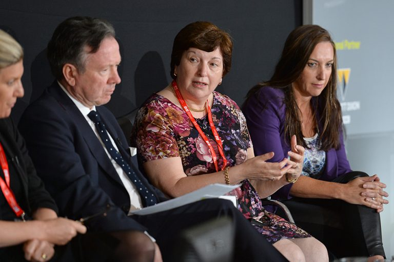 Sue Terpilowski answers a question from the floor at Sheds and Logistics conference 2019