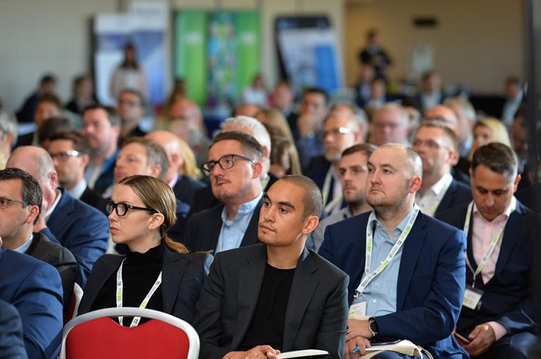 The crowd watches on as the second panel at Sheds and Logistics Conference takes place