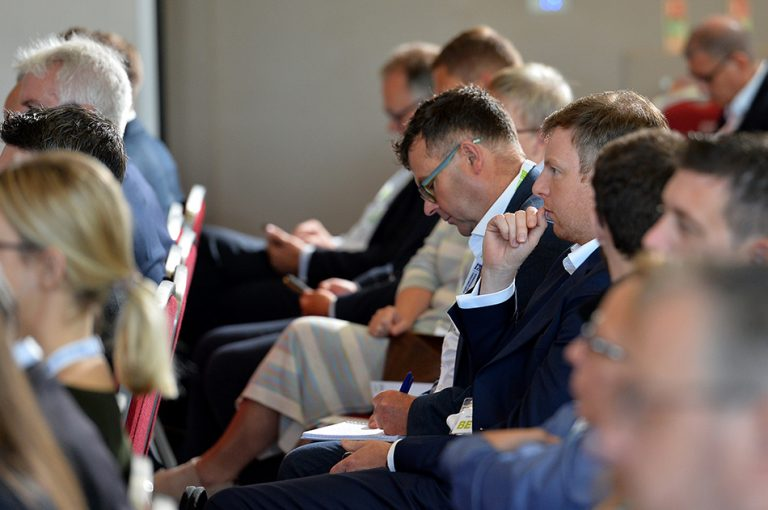 Attendee's watch on as the second panel commences at Sheds and Logistics Conference 2019