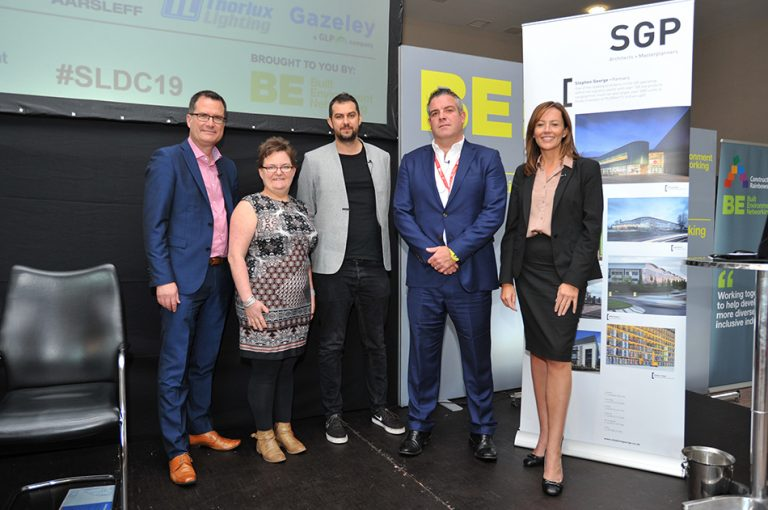 James Nicholls, Rachael Price, Daniel Hulme , Lucy Hudson and Will Cooper at Sheds and Logistics Conference 2019