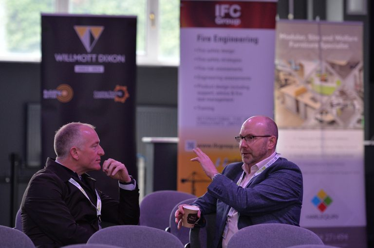 Attendee's discuss business in the Sheffield Megacentre